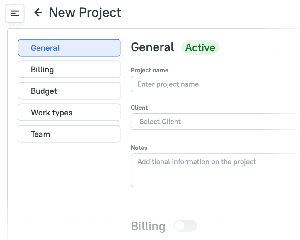 Creating a New Project on TMetric